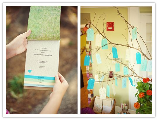 Escort cards hanging from willow branches...