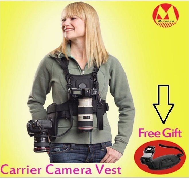 Canon Nikon Sony DSLR Camera Photographer Vest with Dual Side Holster, Strap...