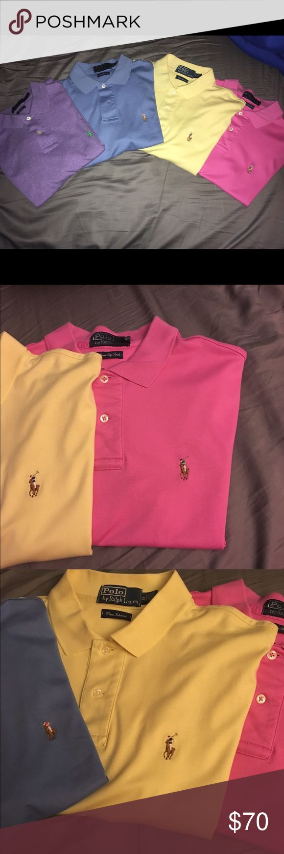 Four Polo Shirts I have four real Polo Ralph Lauren Polos for sale.  These are in immaculate condition.  At most one use for all of them.  I would like to sell them as a bundle.  Check out some of my other stuff.  Thanks Polo by Ralph Lauren Shirts Polos