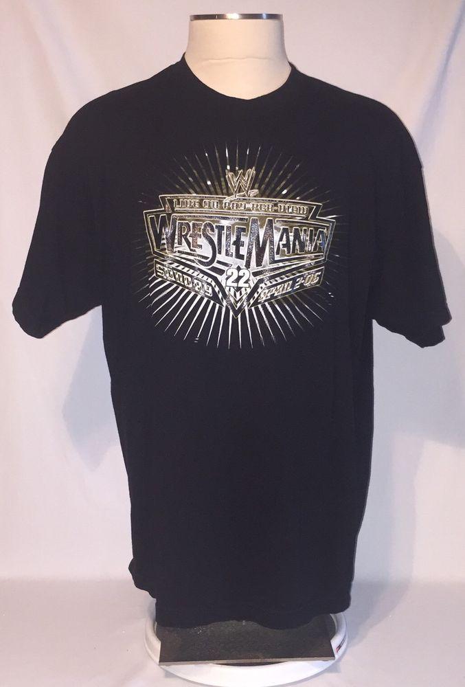 2006 Chicago Wrestlemania 22 T-Shirt XL Logo Black WWE Wrestling