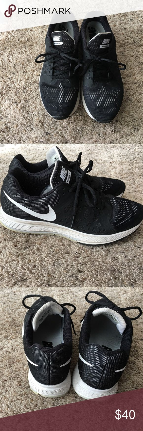 Nike pegasus 31 Nike pegasus 31 shoes. In black and white. Inner and outer soles in great condition. Outer material also in great condition. Nike Shoes Athletic Shoes