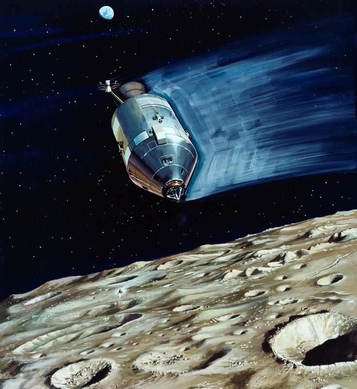 S70-31898 (March 1970) --- A North American Rockwell artist's concept depicting the Apollo 13 Lunar Module (LM) descending to the Fra Mauro landing site as the Command and Service Module (CSM) remains in lunar orbit.  Astronaut Thomas K. Mattingly II, command module pilot, will photograph the LM's descent from the CSM.  Astronauts James A. Lovell Jr., commander, and Fred W. Haise Jr., lunar module pilot, will descend in the LM to explore the moon.  Apollo 13 will be NASA's third l...