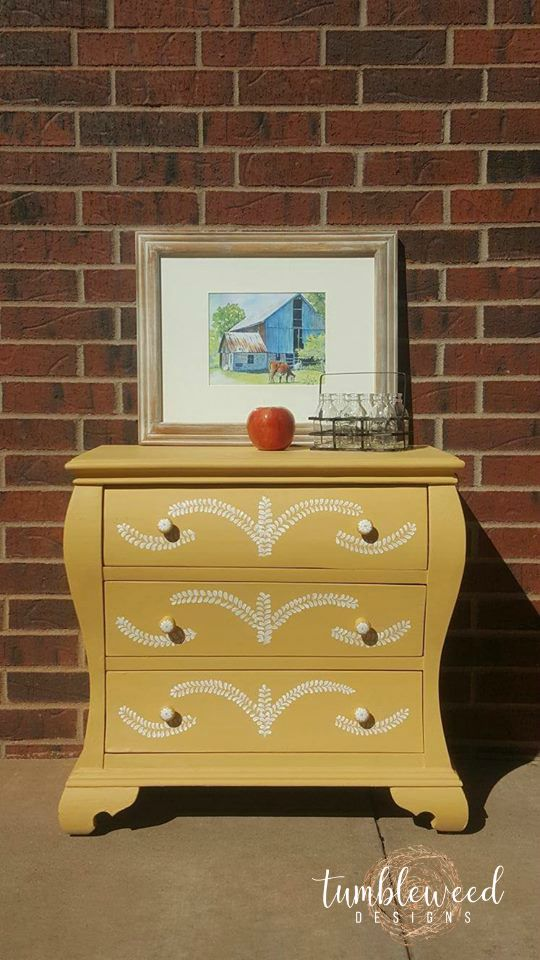 Painted yellow chest with handpainted details. Fusion Mineral Paint Prairie Sunset $175