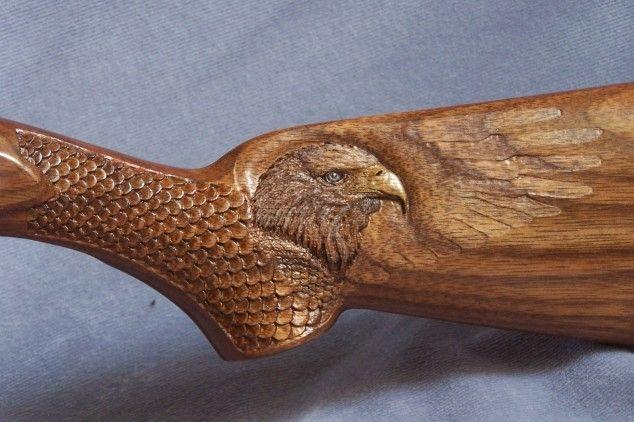 Wildlife carving on gun stocks gunstock head of
