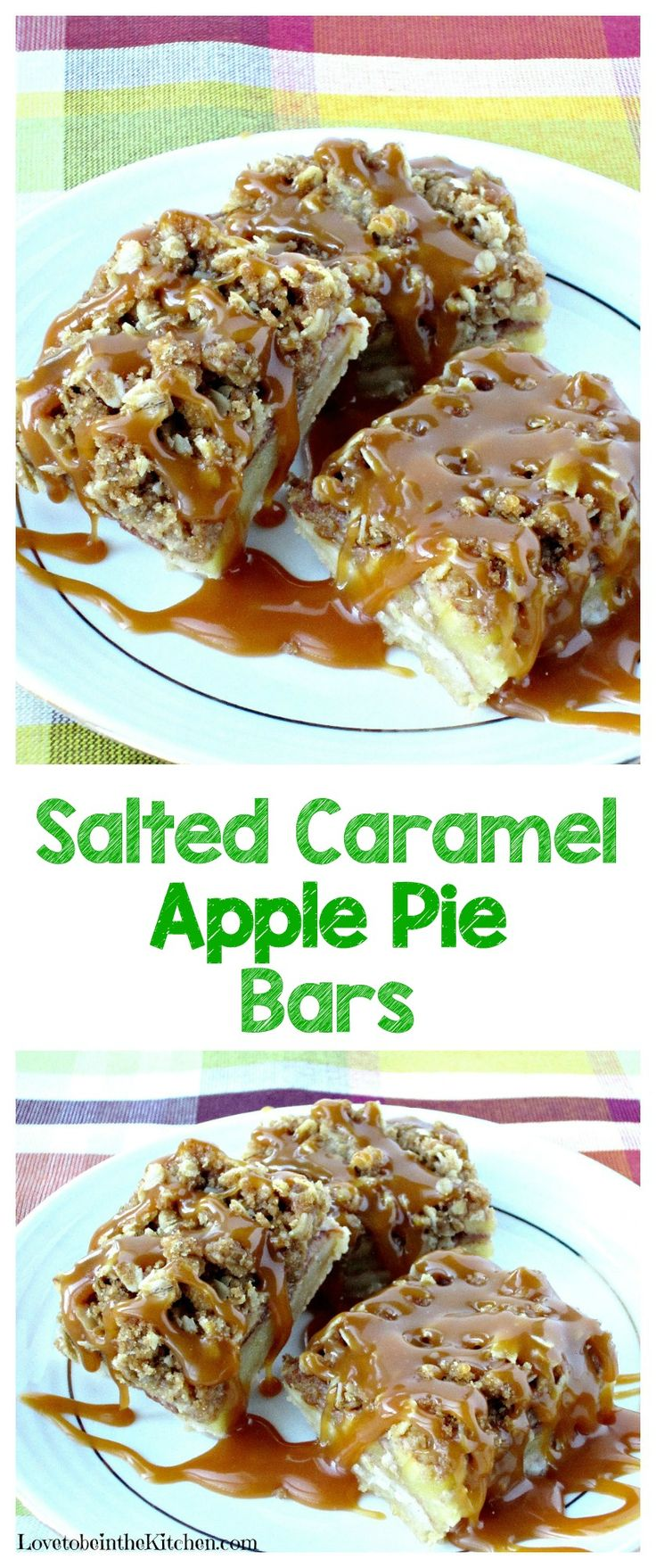 Salted Caramel Apple Pie Bars are quicker and tastier than apple pie! A buttery crust, topped with apples tossed with cinnamon, then sprinkled with streusel. A delicious drizzle of homemade salted caramel is added to make this dessert even more amazing!