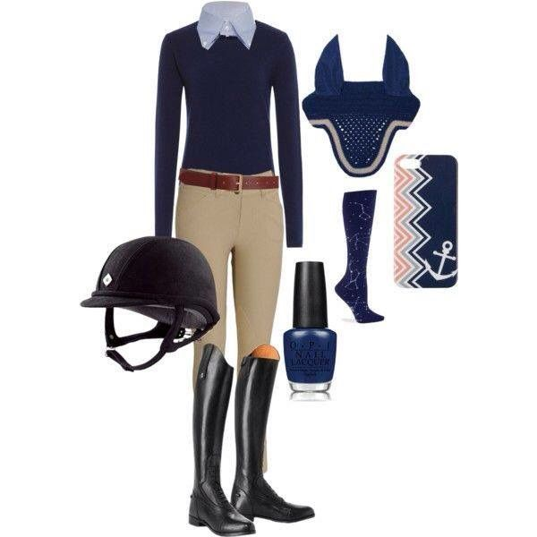 Equestrian outfit. So cute... minus the nail polish, because it wouldn't last long on me