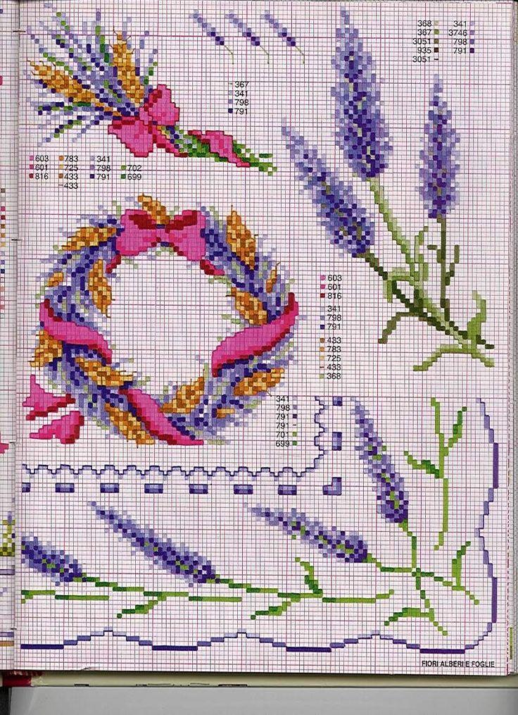 Cross stitch pattern, lavender.