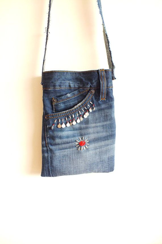 balenciaga bag on sale Cross Body Bag with Beads Recycled Denim Jeans Small FREE SHIPPING
