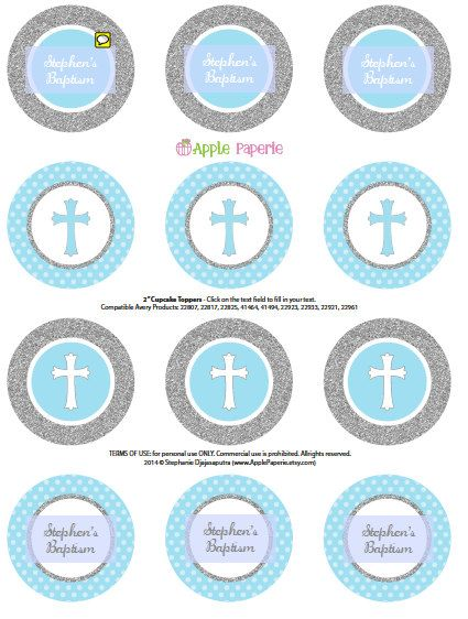 Baptism cupcake toppers / Boy Baptism cupcake by ApplePaperie