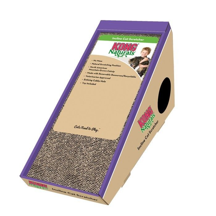 KONG NATURALS INCLINE CARDBOARD CAT SCRATCHER - KONG Naturals Cat Scratchers are a no-mess solution to satisfy your cat's