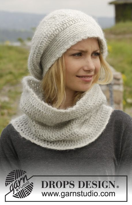 """Crochet DROPS hat and neck warmer in """"Karisma"""" or """"Lima"""" and """"Kid-Silk"""". ~ DROPS Design"""