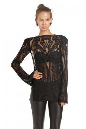 Raisa&Vanessa İşleme Detaylı Dantel Siyah Bluz: Lidyana.com
