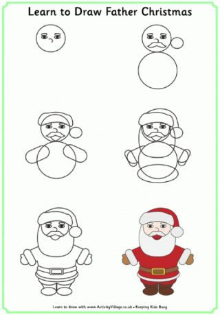 17 best ideas about easy christmas drawings on pinterest - Dessiner le pere noel ...