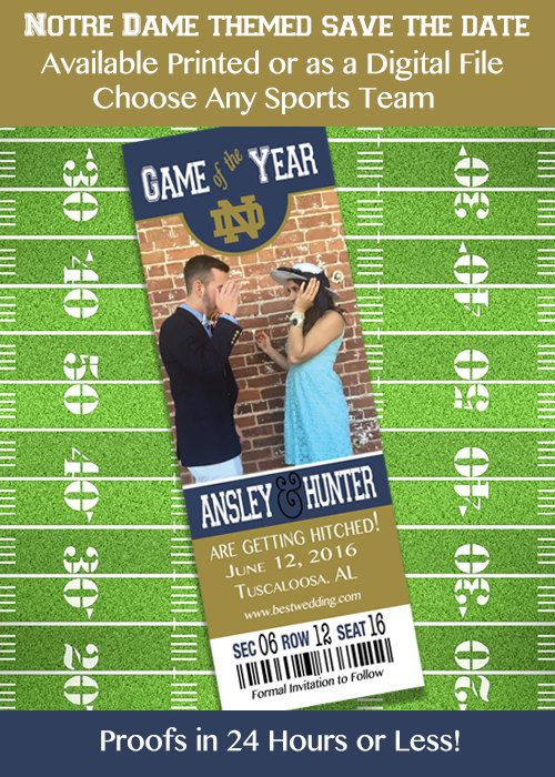 Notre Dame College Football Themed Save by IrresistibleInvites1