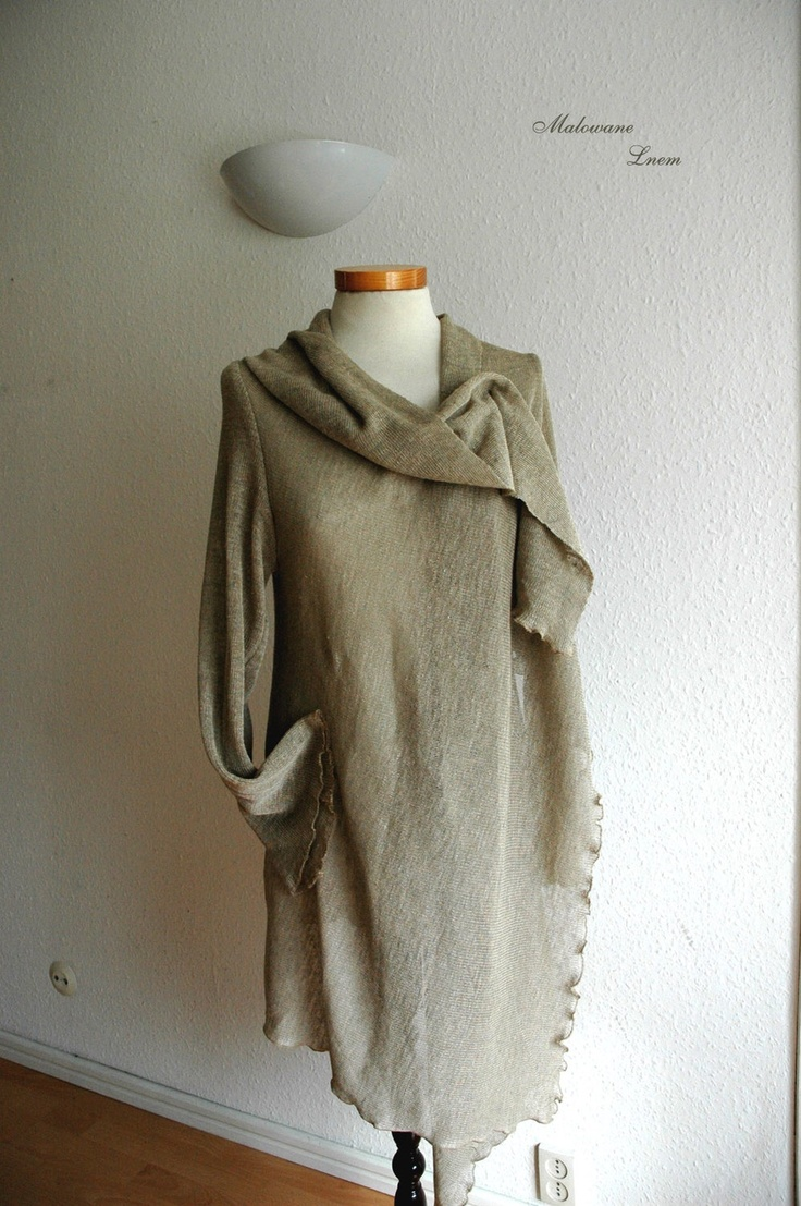 Natural Cardigan With Linen