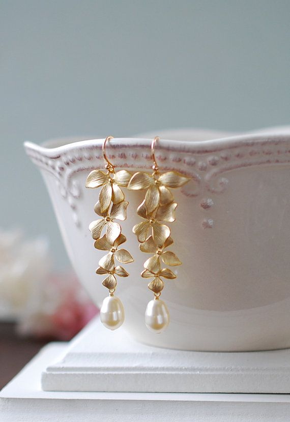 Wedding Jewelry Bridal Earrings Long Gold Orchid by LeChaim, $27.00