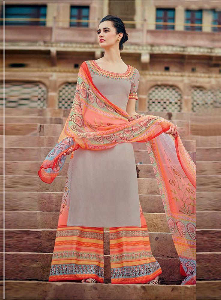 Gray Cotton Palazzo Salwar Suit 85549