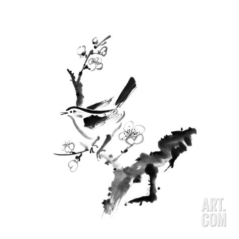 Chinese Painting , Plum Blossom And Bird, On White Background Art Print by elwynn at Art.co.uk
