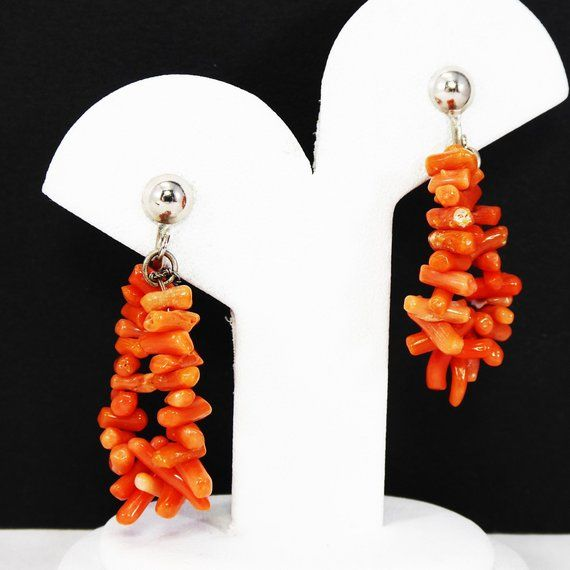 Orange Brown Amber Colored Amber Colored Round Faceted Bead Earrings Vintage Clip on Cluster Earrings Patricia/'s Presents