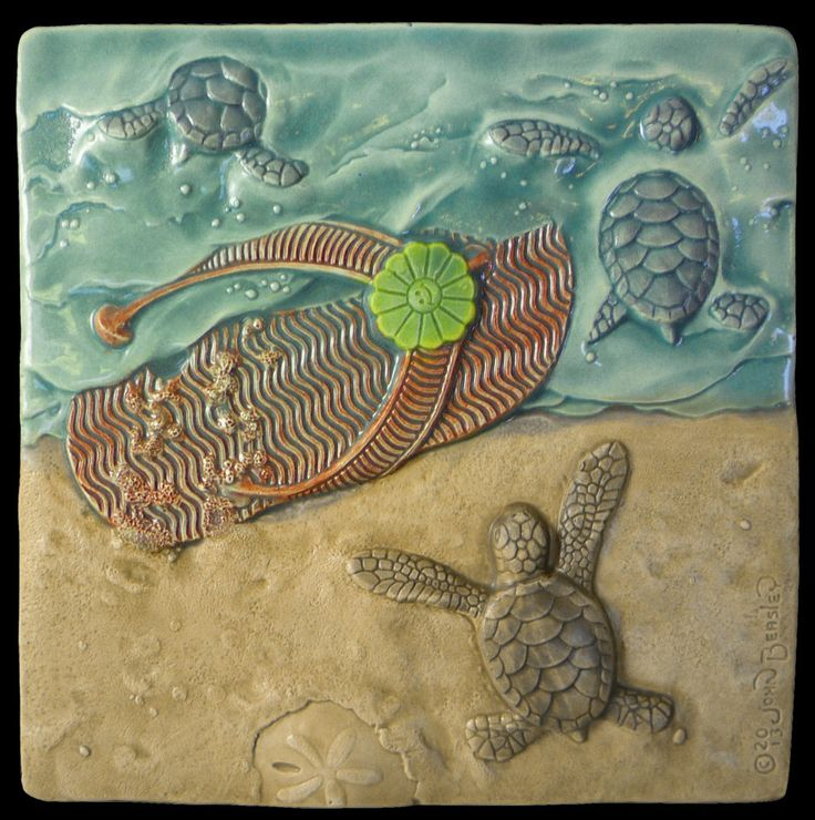 "art tile, Ceramic baby sea turtle sculpture, running over ""Flip Flop"", 6""x6"", ceramic tile by MedicineBluffStudio on Etsy"