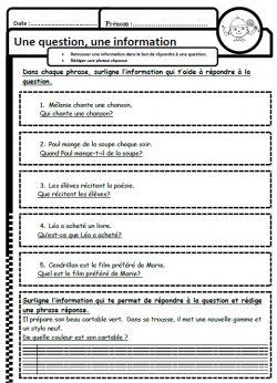 Répondre à une question, lire, stratégie, lecture, Cp, Ce1, cycle 2, dixmois