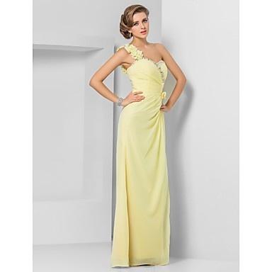 gaine / colonne une épaule-parole longueur robe de soirée en mousseline de soie – USD $ 148.49
