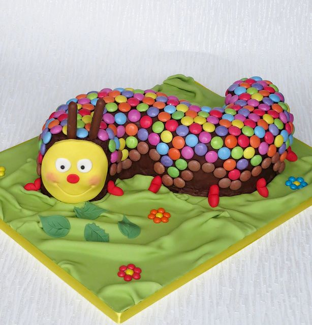 Caterpillar Cake, bright version of asda caterpillar cake with extra smarties. Pam Bakes Cakes. pambakescakes