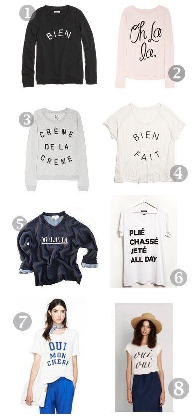 Cute French shirts (cuz I speak French)