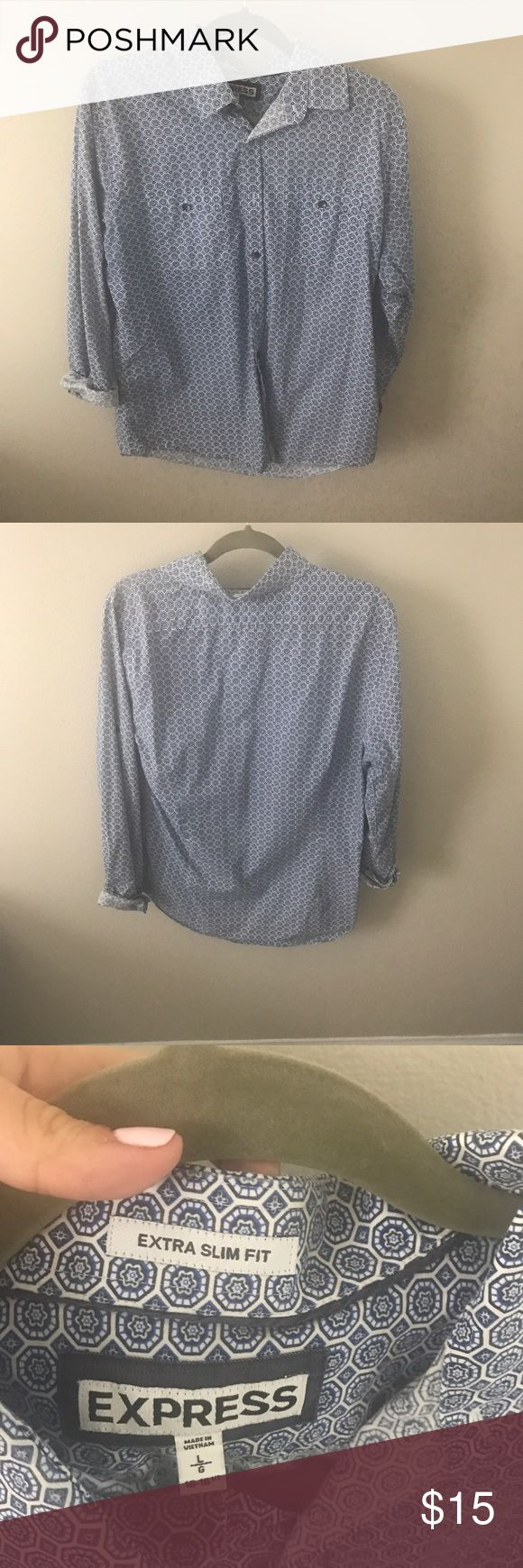 Express Men's Button Down Express Men's Button Down- extra slim Express Shirts Casual Button Down Shirts