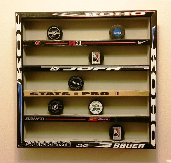Hockey Puck Display Case Holds 30 Pucks Hockey Sticks Etsy Hockey Room Hockey Room Decor Hockey Bedroom