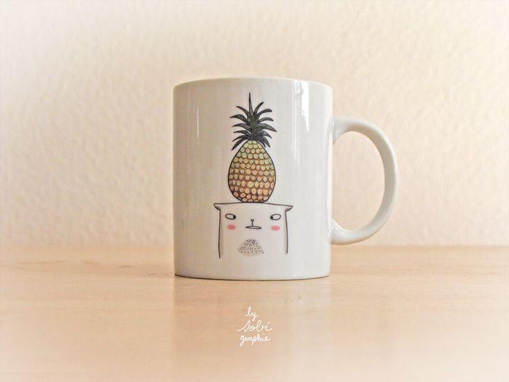 "Mug ""Pineapple cat"" by Sobigraphie on Etsy https://www.etsy.com/ca/listing/233128828/mug-pineapple-cat"