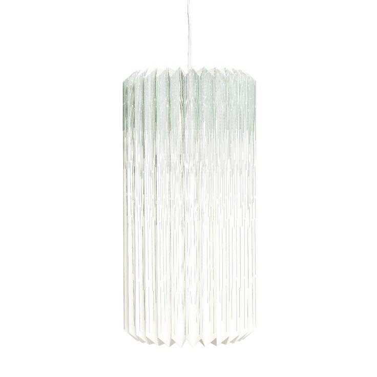 Hubsch Papieren Lamp met wit/groene strepen - Lampen   Kindercompagnie.nl