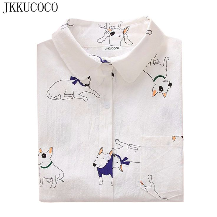 JKKUCOCO Cactus/little bee/little dog print Shirts Women's Shirts Good Quality Long Sleeve Casual Blouse Shirt 3 Models S-XXL