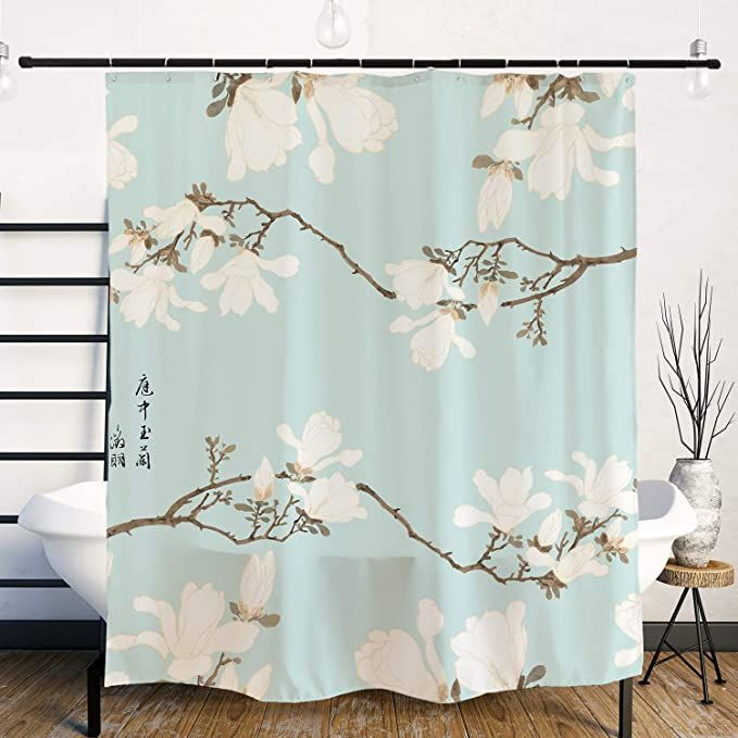 Ofat Home Japanese Shower Curtain Chinese Traditional Ink Painting Michelia Alba And Birds Painting Artistic Bathroom In 2020 Japanese Shower Traditional Ink Curtains