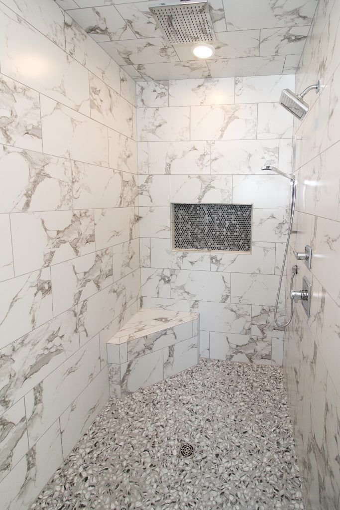 Master Bath With Marble Tile Shower Walls In 2020 Marble Shower Tile Shower Tile Shower Wall
