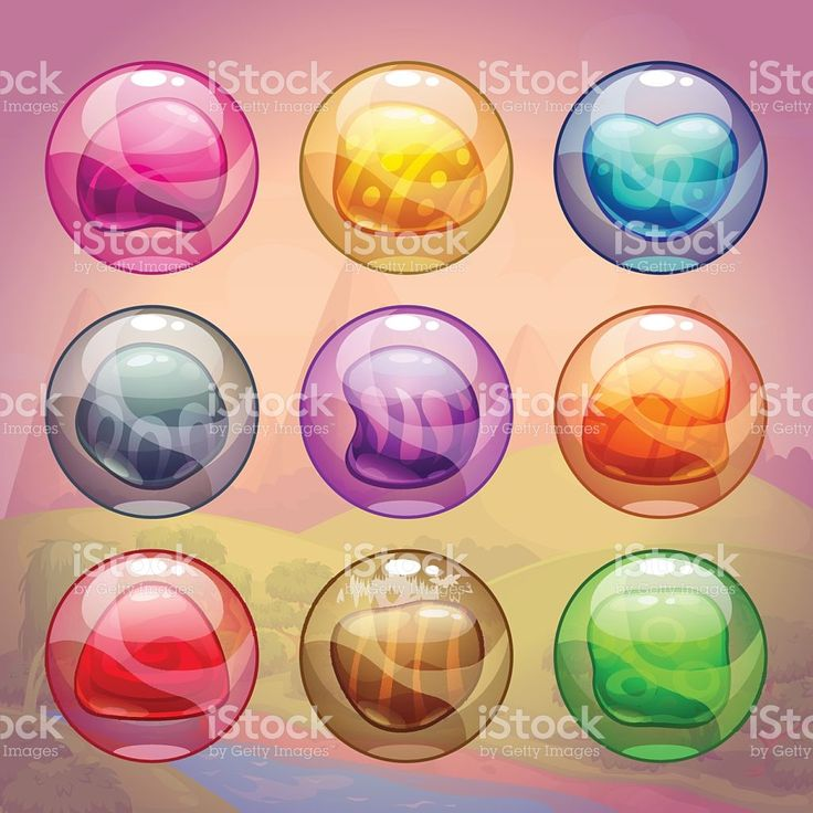 Colorful glossy bubbles with magic stones inside illustracion libre de derechos libre de derechos
