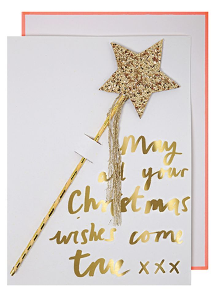 All your Christmas wishes will come true with this charming Christmas card with detachable wand embeliished with glitter and sparkly string. Card size: 5 x 7 inches. Inside greeting: Season's Greeting
