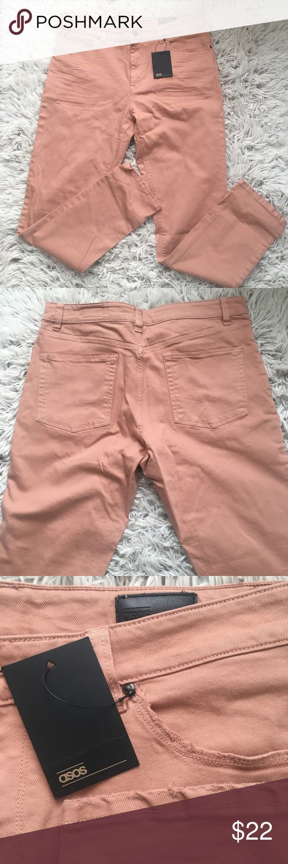 ASOS Peach Jeans Peachy/Blush colored denim. Slightly distressed at the seams. Brand new condition, never worn.   Waist: 36 Inseam: 32 ASOS Jeans Straight