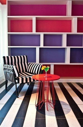 séjou + rose, rouge, violet, bleu et noir + double effet rayure