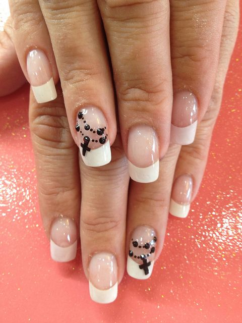 Simple White French Acrylic Tips With Rosary Bead Nail Art Designs For Beginners