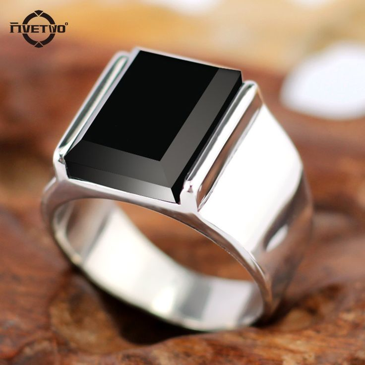 FIVETWOO Fashion rings Punk Vintage Rectangular  Rings For Men With Black Onyx for party Stainless Steel Ring