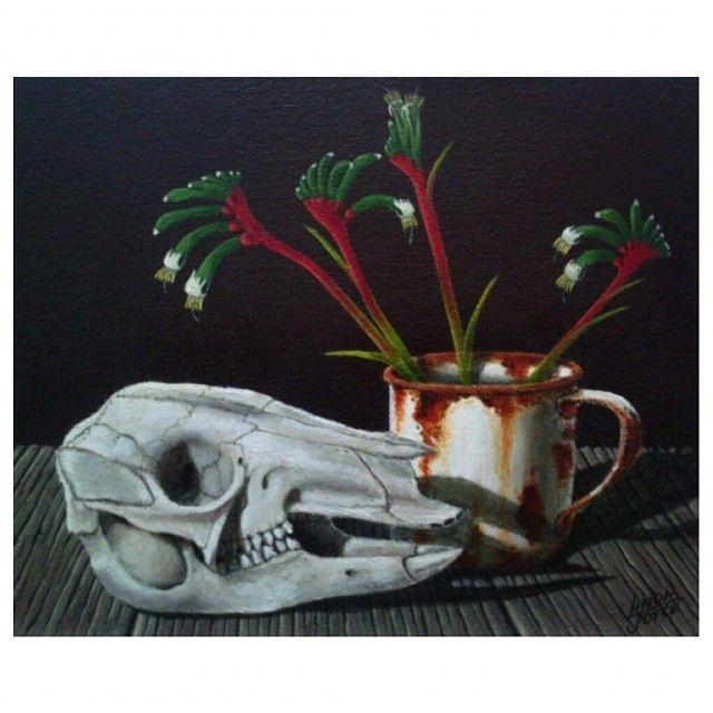 PAW ROO small #acrylicpainting This kangaroo has definitely seen better days but the #kangaroopaw flowers are looking good! #nawden #triplesartists #topworkofart #BESTDM #world_art_sharing #draws_by_l_i #theartlovers #kangaroo #skull #rustic_world #Australian #bones #flowers #modernart #art_of_instagram #farmlife #rural_love #lifeonthefarm #deviantartist_ #artcollective #artist_community #artfido #daily__art #rustic_world #illustrateourworld #nature #discarded_butnot_forgotten