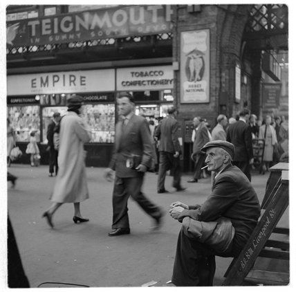 Bob Collins -- Shoe polisher Liverpool Street Station; c.1960 -- High quality art prints, framed prints, canvases -- Museum of London Prints