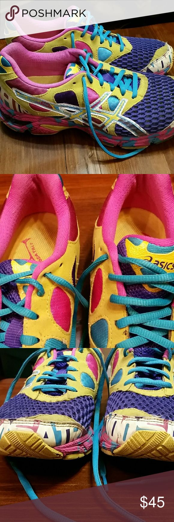 """Asics Gel Noosa Tri7 Asics Gel Noosa Tri7 sneakers, still in good condition. Purple/ yellow/ pink/ blue. """"NOOSA TRI"""" on toe and heels of sneakers glows for safer running in the dark. Great sneakers, just need to downsize my collection! Asics Shoes Sneakers"""