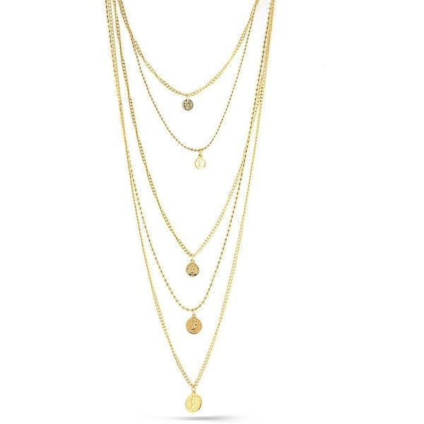 Gold Coin Layered Necklace ($36) ❤ liked on Polyvore featuring jewelry, necklaces, gold ball chain necklace, yellow gold jewelry, yellow gold necklace, multi layer necklace and gold jewelry