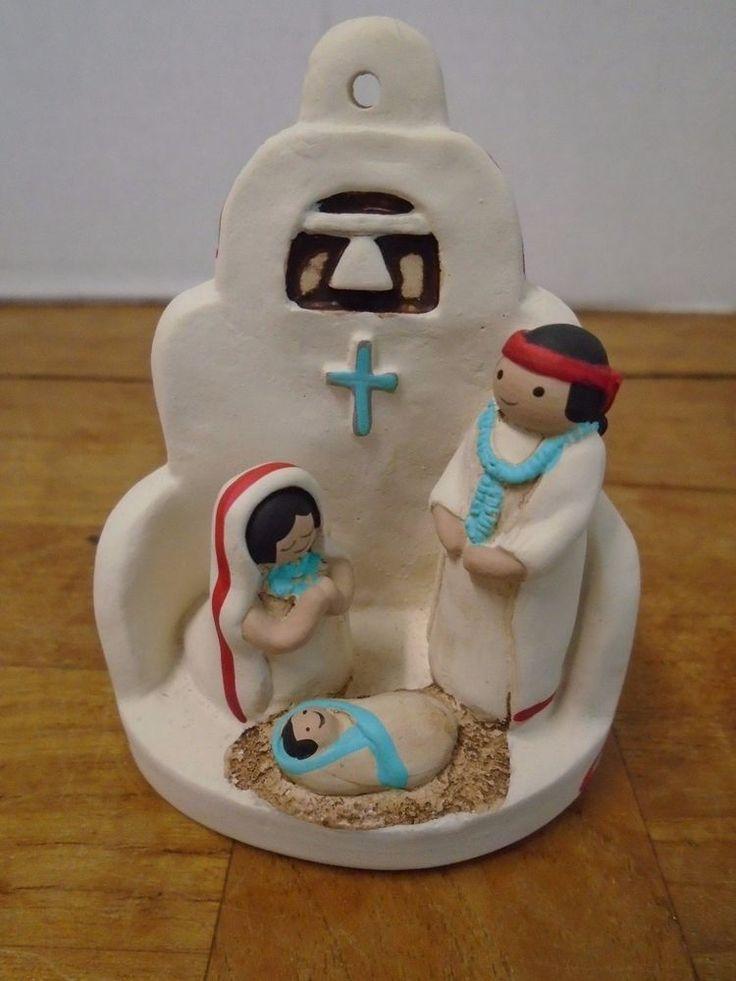 Santa Fee Ceramic Nativity Scene Creche Handcrafted Adobe Church Ornament #Handcrafted