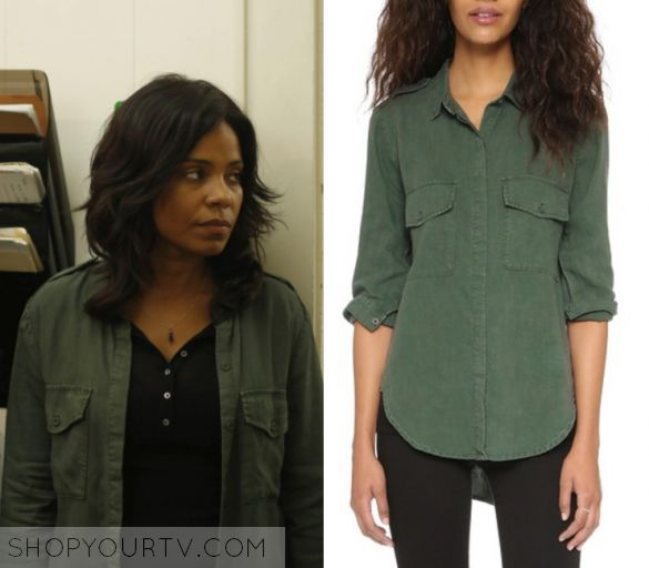 """Shots Fired: Season 1 Episode 9 Ashe's Green Shirt   Shop Your TV Ashe Akino (Sanaa Lathan) wears this green button down shirt in this episode of Shots Fired, """"Hour Nine: Come To Jesus"""".  It is the Bella Dahl Flap Pocket Button Down."""