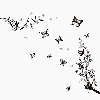 Black Butterfly Botanical Background Wall Art DIY Living Room Bedroom Wall…