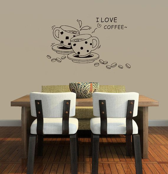Coffee Wall Decal Kitchen Wall Decal Coffee Cup Wall Decal I Love Coffee  Coffee Wall Art Kitchen Decor Kitchen Art