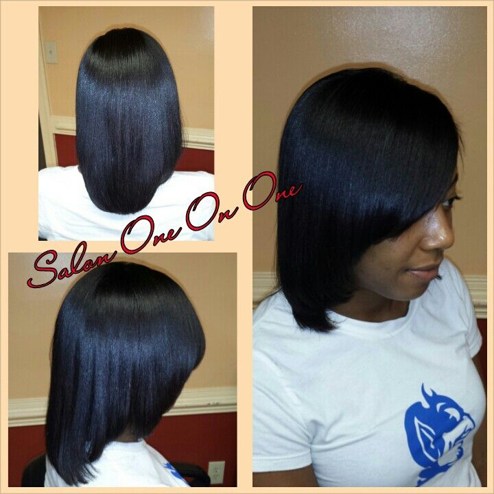 healthy relaxed hair. repaired